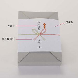 熨斗紙をかけたギフトボックス。Japanese traditional wrapping